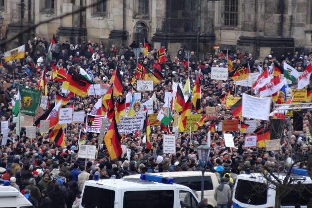 Pegida Demo im Januar 2015 in Dresden